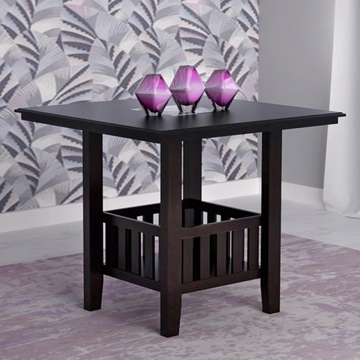 Caren Solid Wood Four Seater Dining Table in Cappuchino Colour by HomeTown