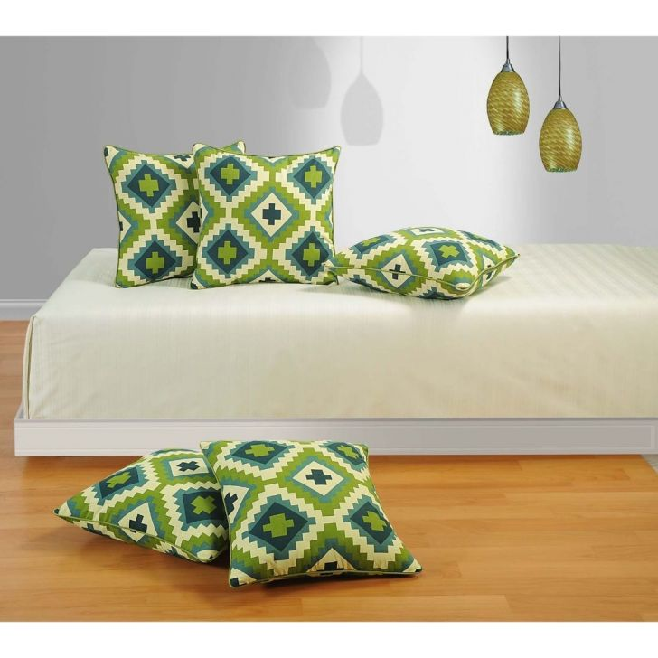 Solid Cushion Cover 24 In Light Green Color By Swayam