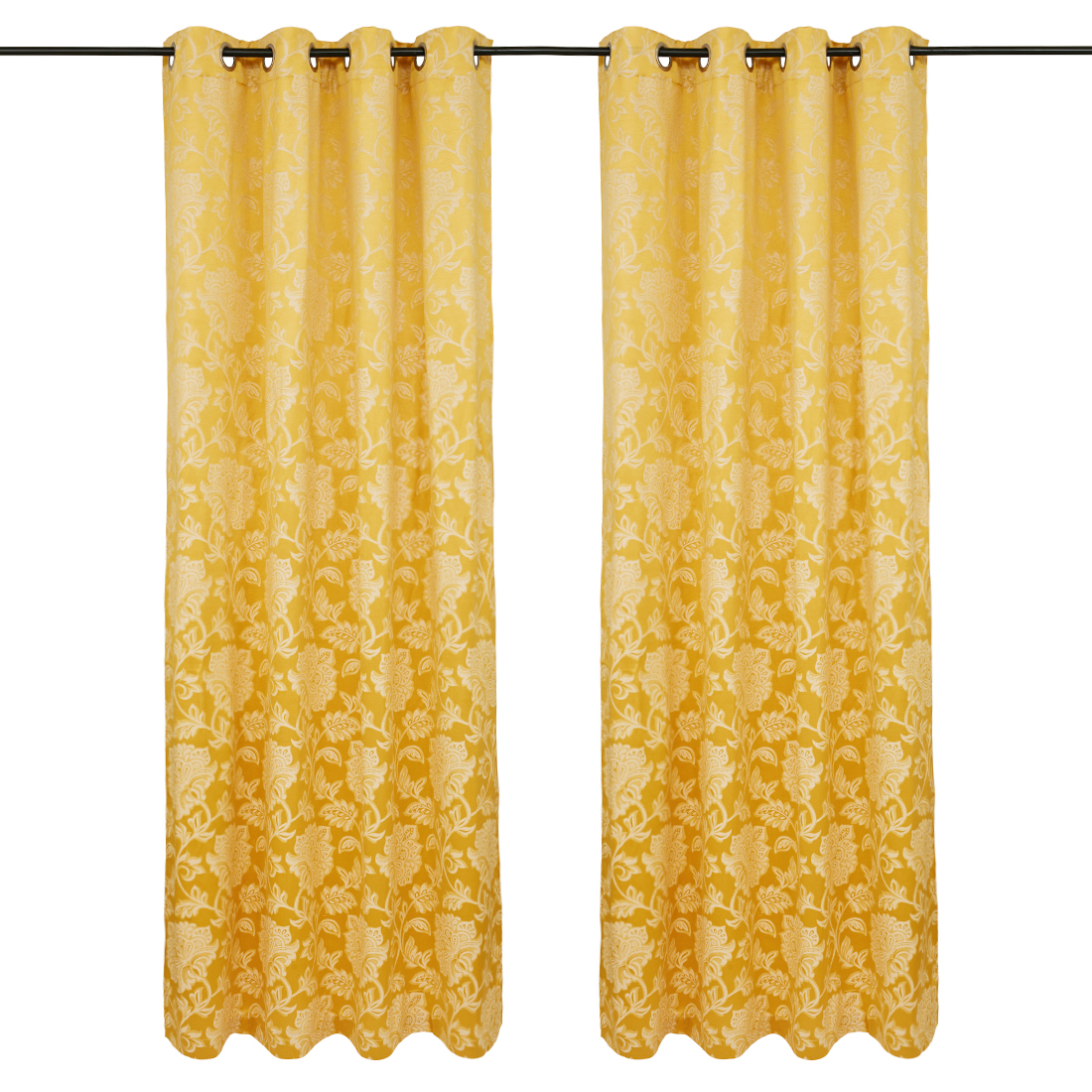 Fiesta Jacquard set of 2 Polyester Door Curtains in Mustard Colour by Living Essence