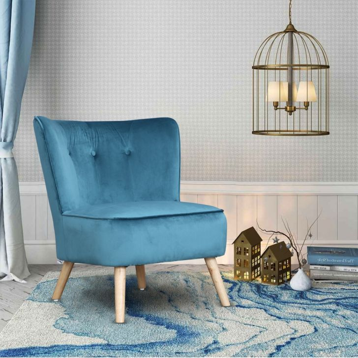 Emma Solid Wood Arm Chair in Teal Colour by HomeTown