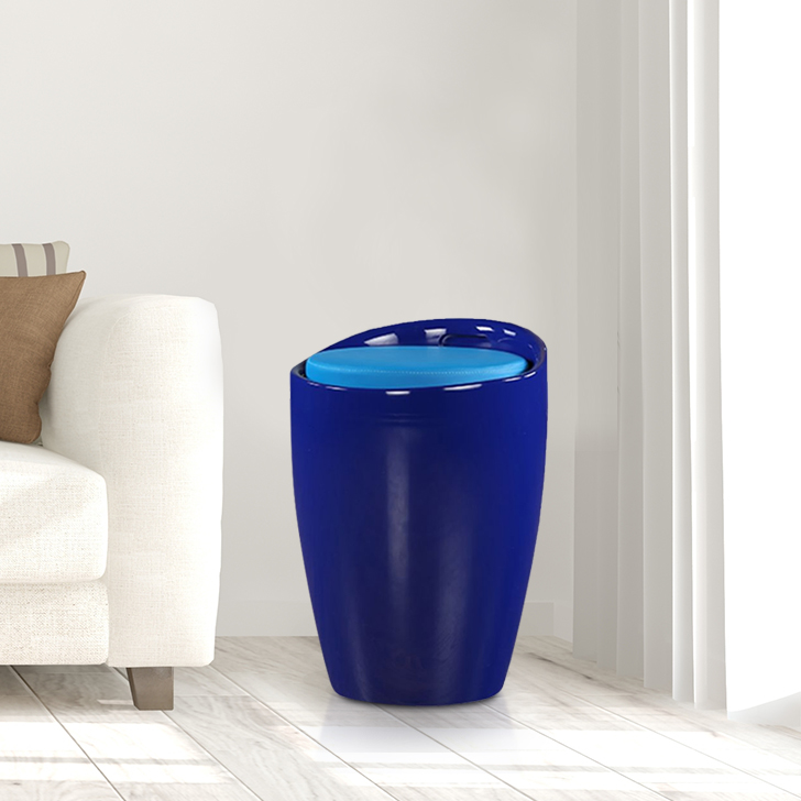 Luna Plastic Ottomans and Pouf in Blue Colour by HomeTown