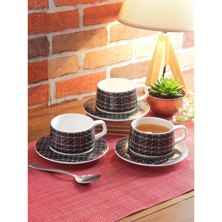 Art Deco Ceramic Cup & Saucer Set Of 12 210 Ml in Multi Colour by Living Essence