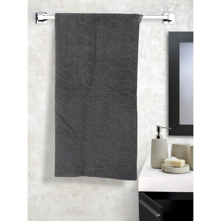 Jacquard Micro Magic Microfibre Bath Towels in Grey Colour by Dreamline