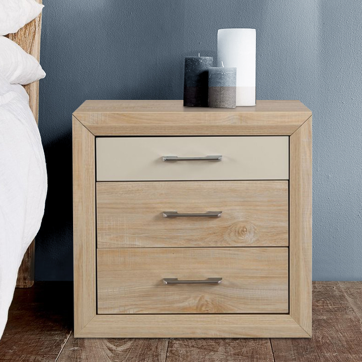Galileo Engineered Wood Bedside Table in Beige Colour by HomeTown