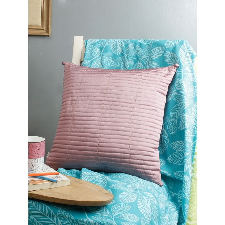 Living Essence Polyester Cushion Cover in Blush Colour by Living Essence