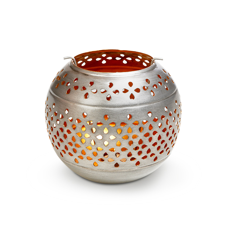 Decorative Ball Tea Light Iron Candle Holders in Silver Colour by Malhar