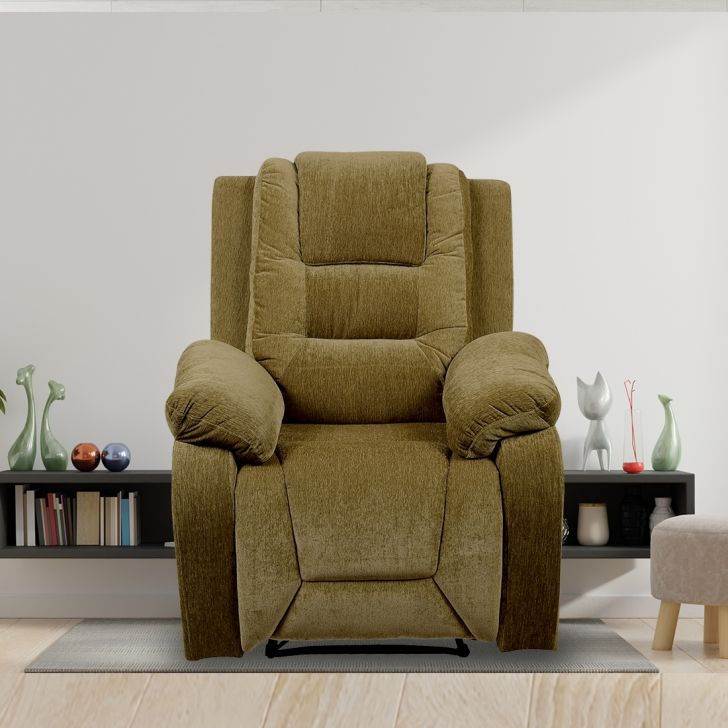 Mozilla Fabric Single Seater Rotating Recliner in Olive Brown Colour