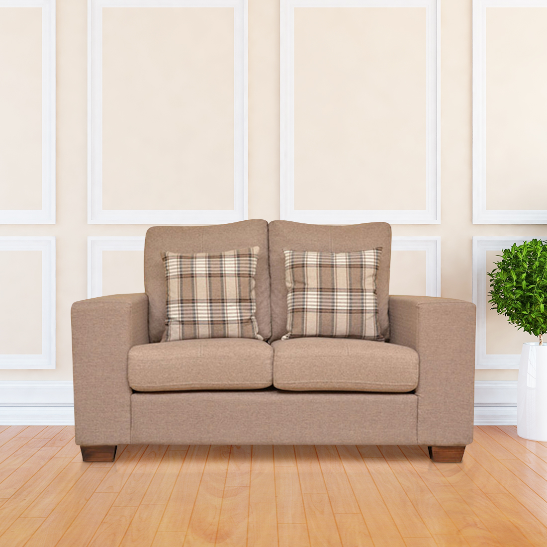 Edmond Fabric Two Seater Sofa in Brown Colour by HomeTown