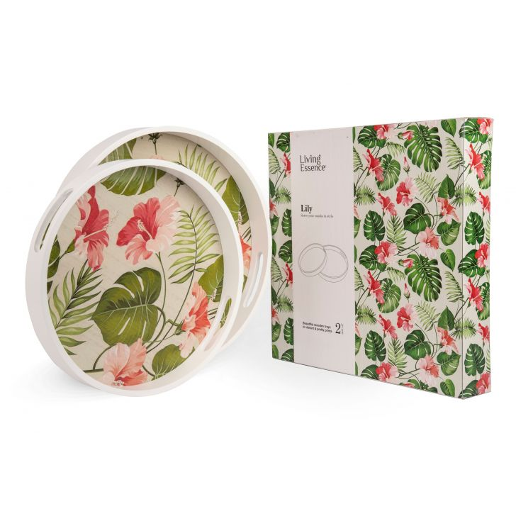 LE ROUND WOODEN TRAY SET OF 2 Wood Trays in Multicolor Colour by Living Essence