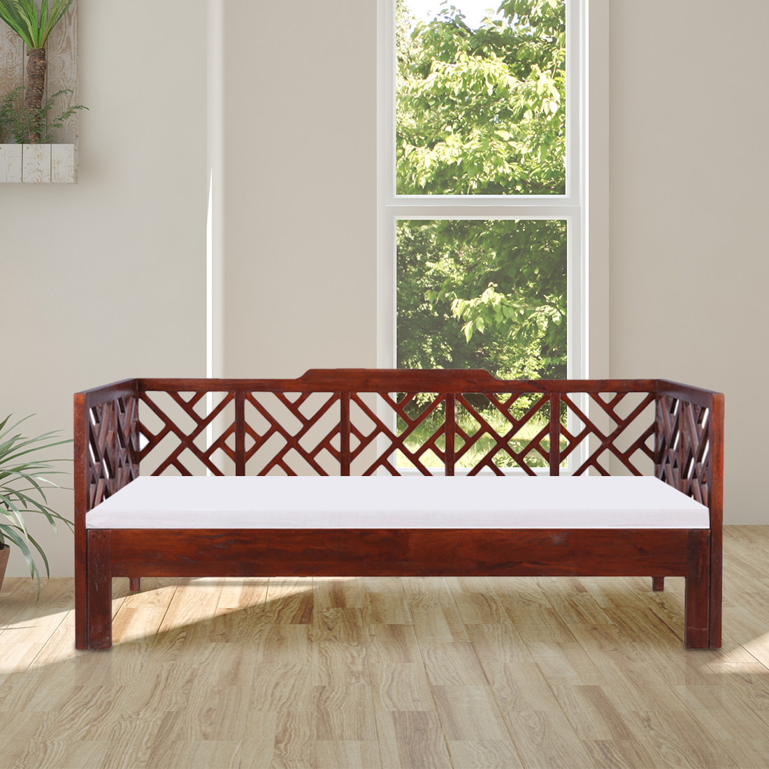 Noelle Solid Wood Queen Size Bed With Trundle in Dark Brown Colour by HomeTown
