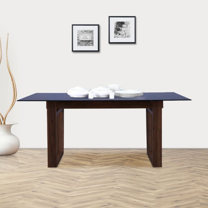 Camron Engineered Wood Glass Top Six Seater Dining Table in Beige Colour by HomeTown