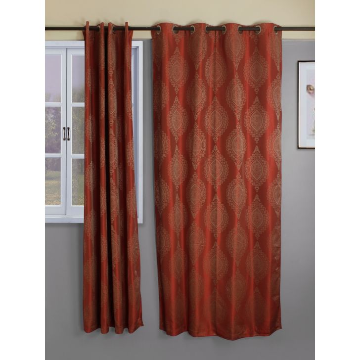 Set of 2 Emilia Jacquard Blackout Polyester Door Curtains in Rust Colour by Living Essence