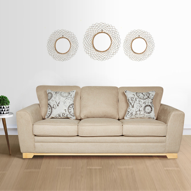 Catherine Fabric Three Seater Sofa in Beige Colour by HomeTown