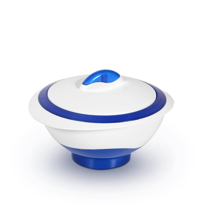 Pinnacle Polyurethane and Stainless Steel Casseroles in White And Blue Colour by Living Essence