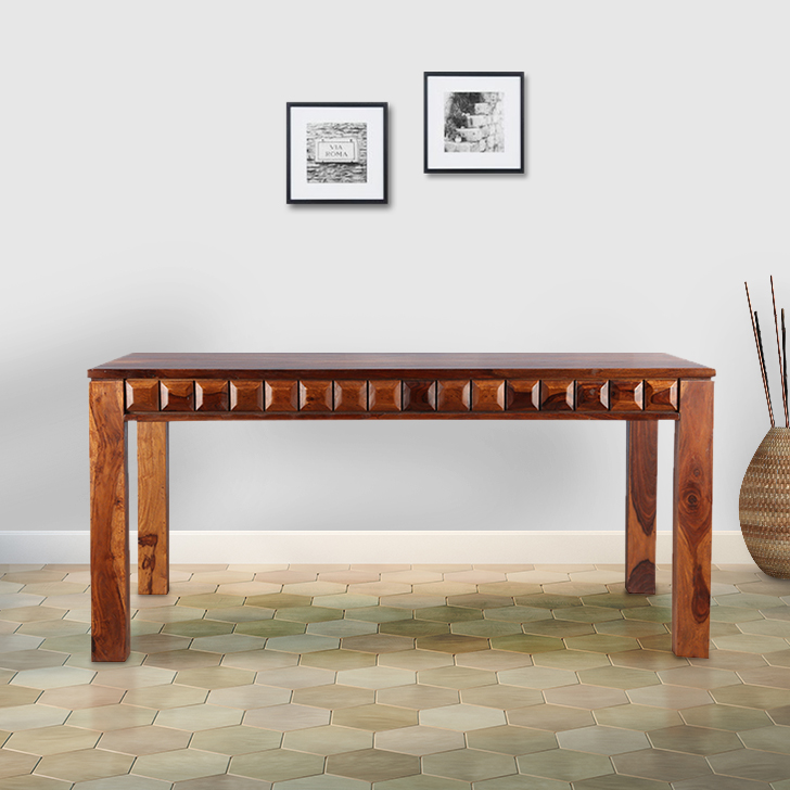 Woodrow Solid Wood Six Seater Dining Table in Honey Colour by HomeTown