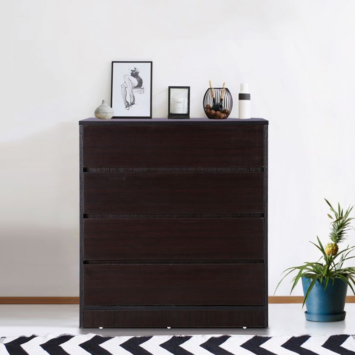 Basic Engineered Wood Chest of Drawer in Wenge Colour