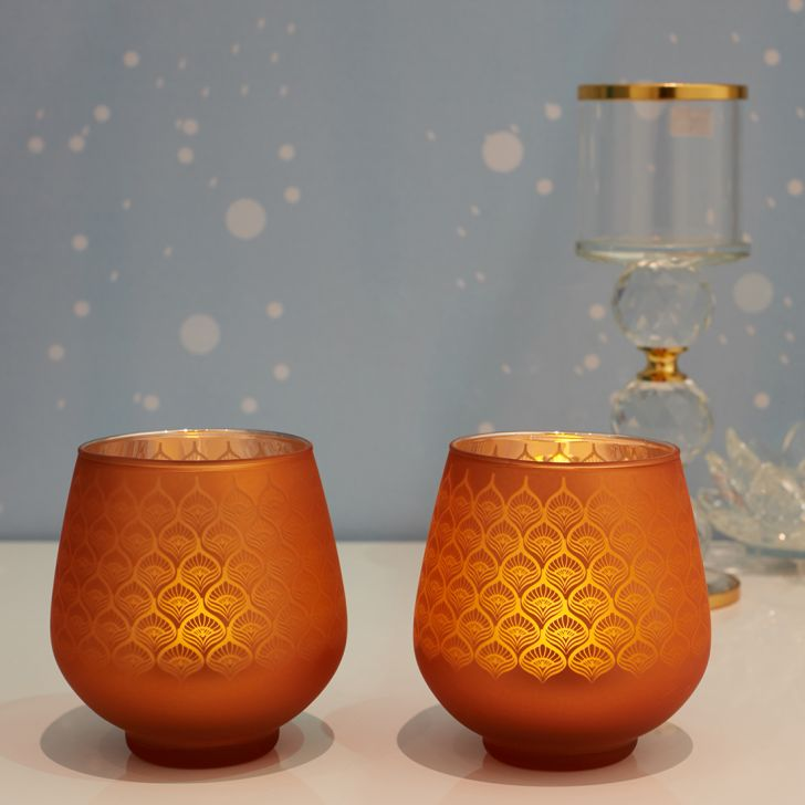 Zahara Set Of 2 Peacock Etched Glass Candle Holders in ORANGE Colour by Living Essence