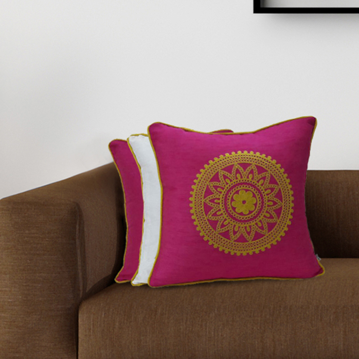 Set Of 3 Cc 16X16 Fiesta Pink Polyester Cushion Cover Sets in Pink Colour by Living Essence