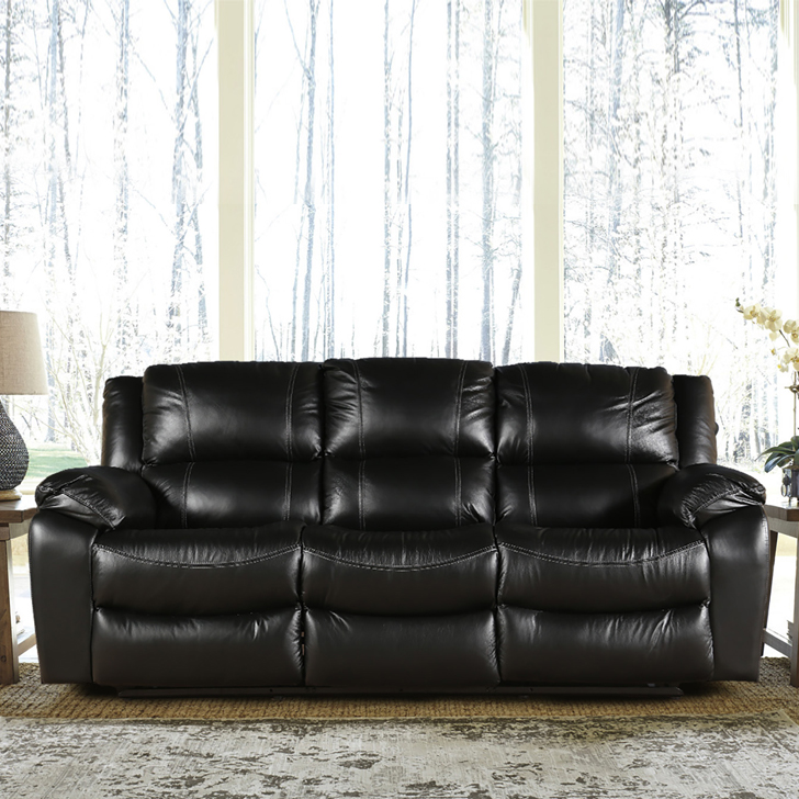 Bristol Half Leather Three Seater Recliner in Black Colour by HomeTown