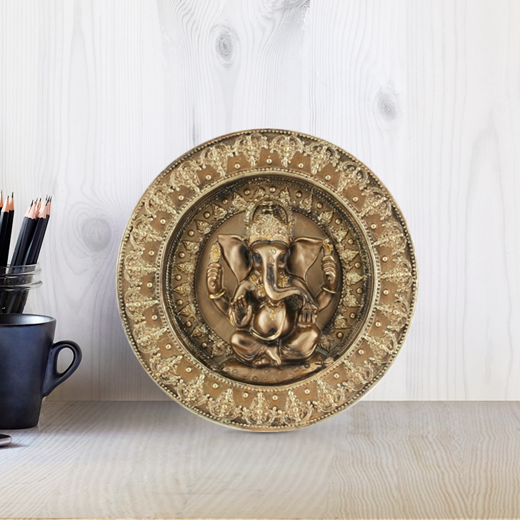 Fio Ganesha Round Deco Plate Gold Polyresin Idols in Gold Colour by Living Essence