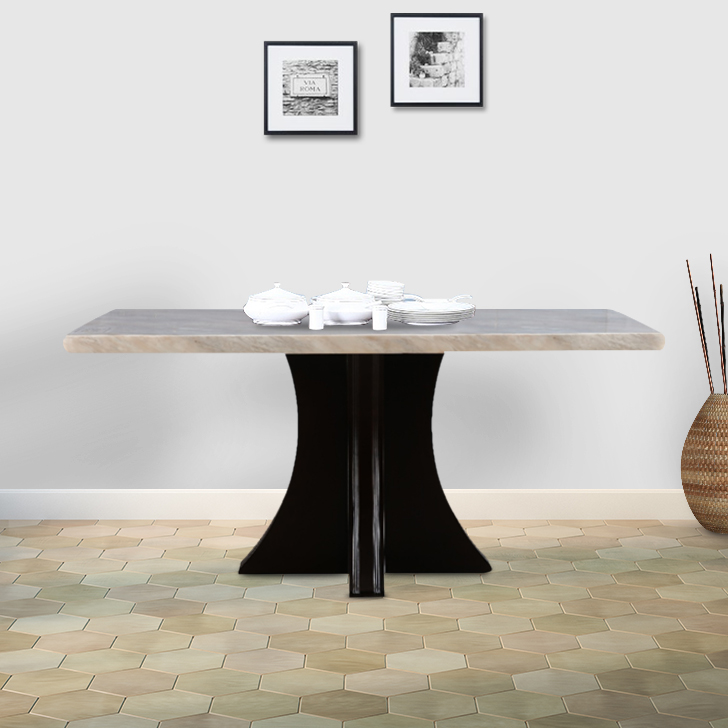 Alston Marble Six Seater Dining Table in Ivory Colour by HomeTown