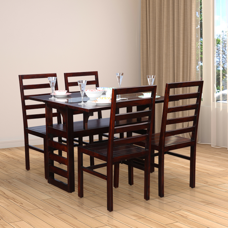 Durham Solid Wood Glass Top Four Seater Dining Set in Walnut Colour by HomeTown