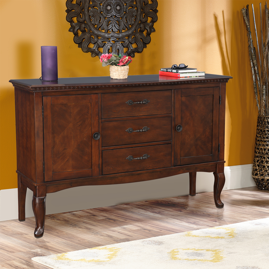 Astoria Solid Wood Storage Sideboard in Dark Brown Colour by HomeTown