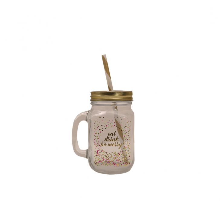 Tropical Celebration Car Mason Jar Glass Mason Jars in Transparent With Multicolor & Gold Colour by HomeTown