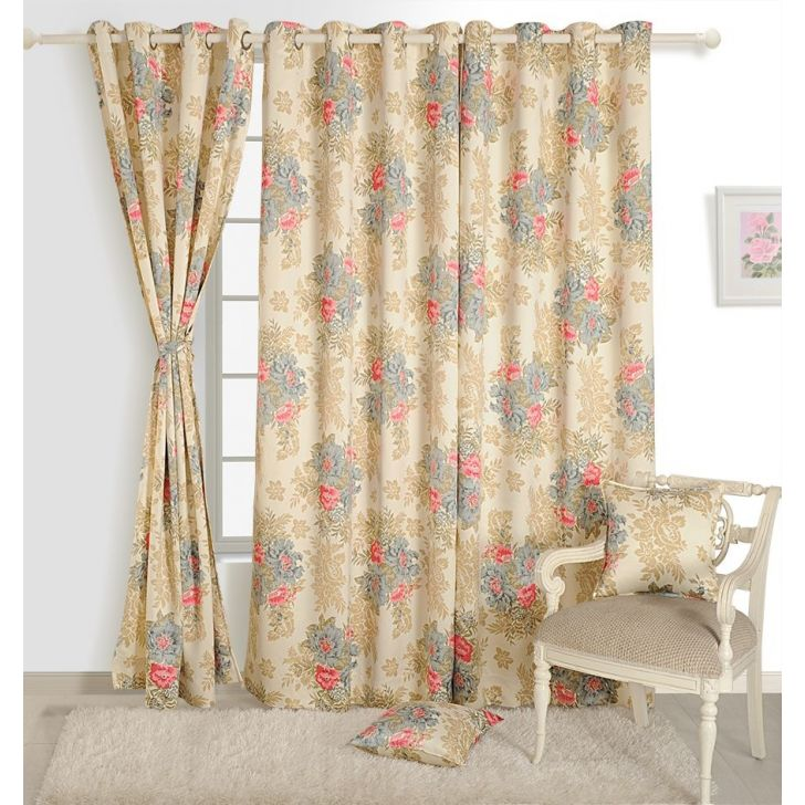 Floral Window Curtain In Cream Color By Swayam