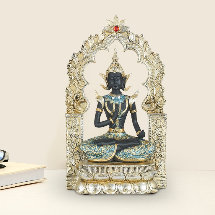 Miraya Indo Buddha With Frame Polyresin Table Decor in Assorted Colour by Living Essence