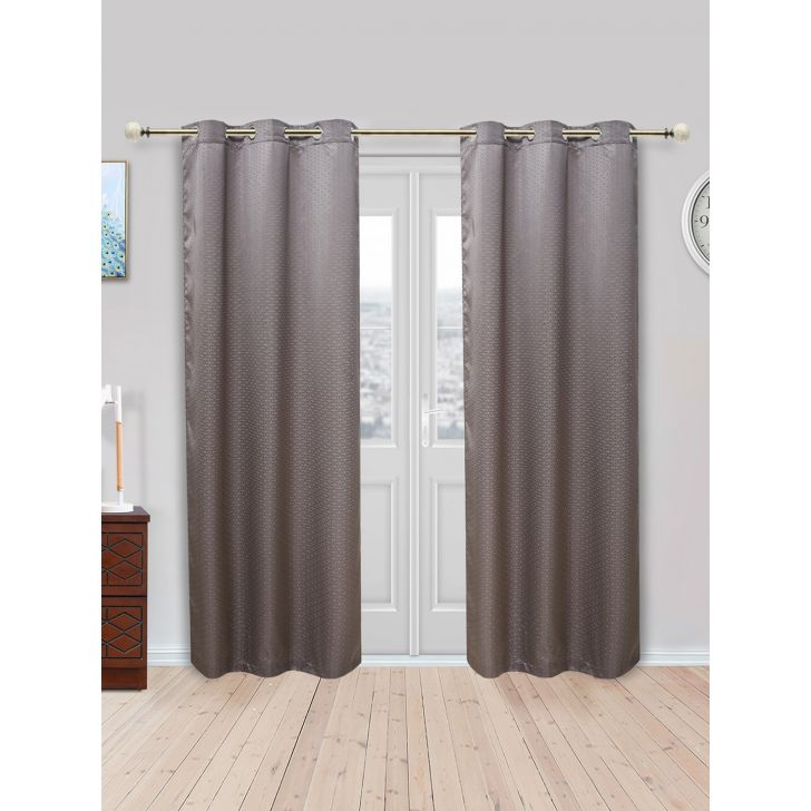 Fiesta Set of 2 Polyester Door Curtains in Charcoal Colour by Living Essence