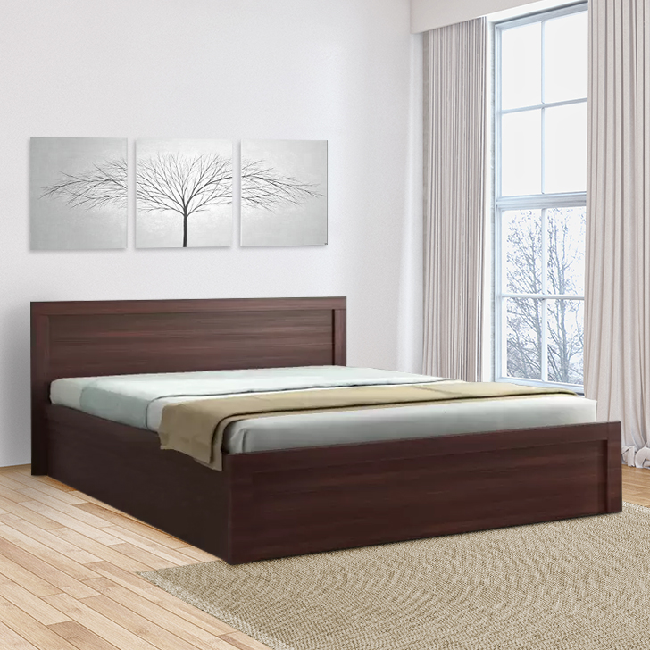 Dazzle Engineered Wood Box Storage King Size Bed in Walnut Colour by HomeTown