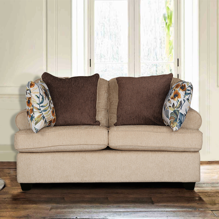 Nicholas Fabric Two Seater sofa in Beige Colour by HomeTown