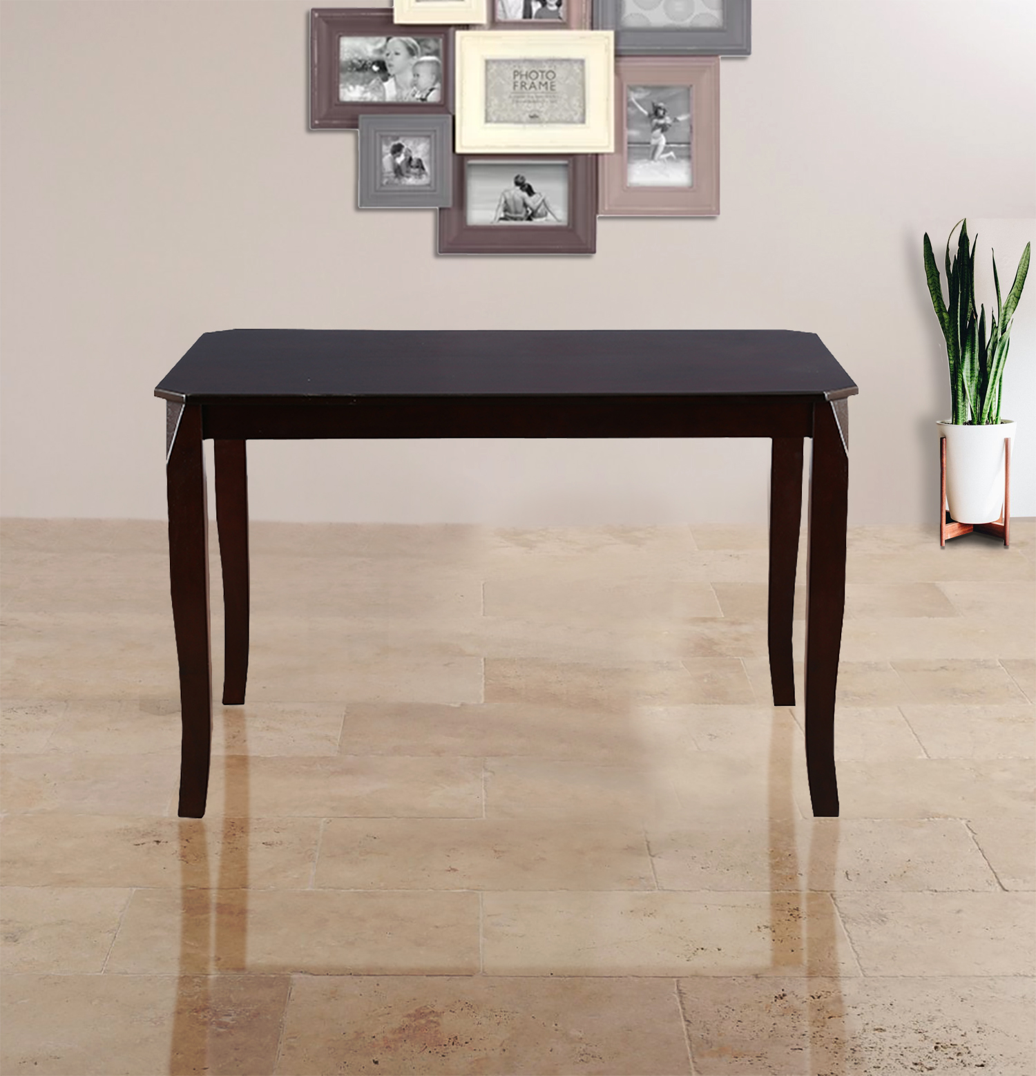 Cardiff Rubber Wood Four Seater Dining Table in Expresso Colour by HomeTown