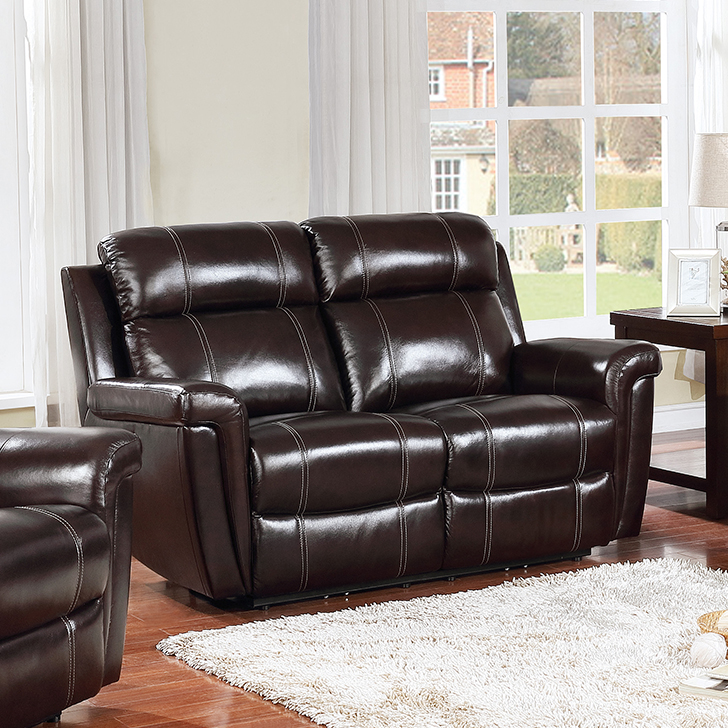 Gatwick New Half Leather Two Seater Recliner in Dark Brown Colour by HomeTown