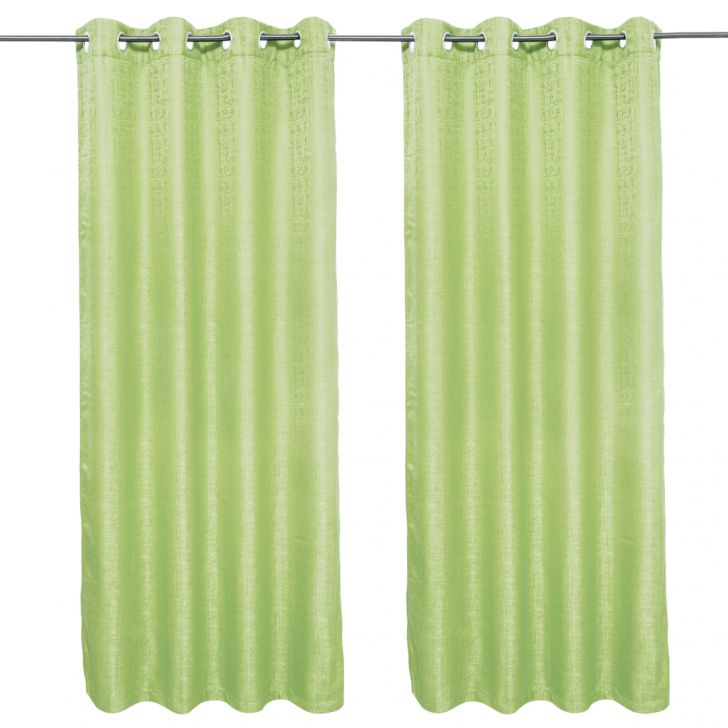 Nora Solid set of 2 Polyester Door Curtains in Citron Colour by Living Essence