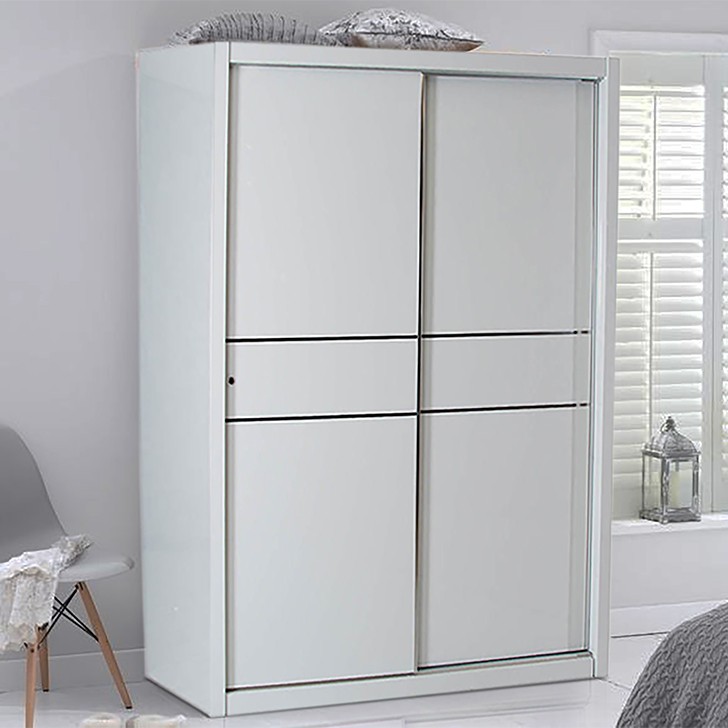 Edwina Engineered Wood Sliding Wardrobe in White Colour by HomeTown