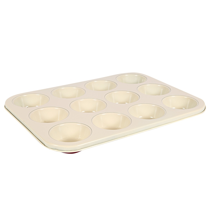 Silicone 12 Cup Muffin Pan Red And Cream Silicon Baking Moulds in Red And Cream Colour by Living Essence