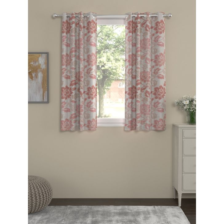 Yarndyed Jacquard Window Curtain In Red Color By Rosara Home