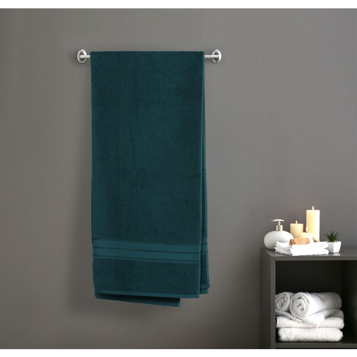 Brooks Cotton Bath Towels in Green Colour by Dreamline