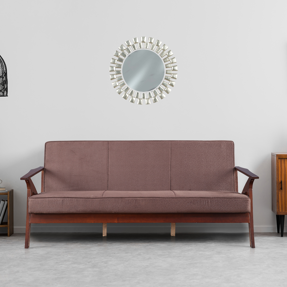 Patrick Solid Wood Three Seater Sofa in Brown Colour by HomeTown