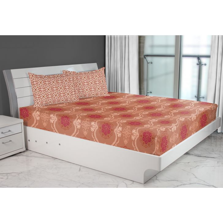 Emilia Cotton Double Bed Sheets in Rust Colour by Living Essence
