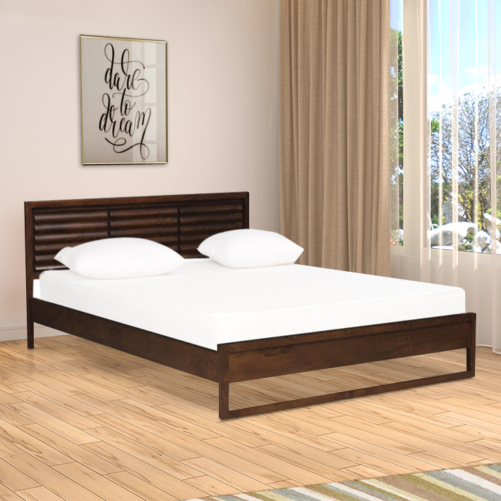 Unison Solid Wood King Size Bed in Nut Brown Colour by HomeTown