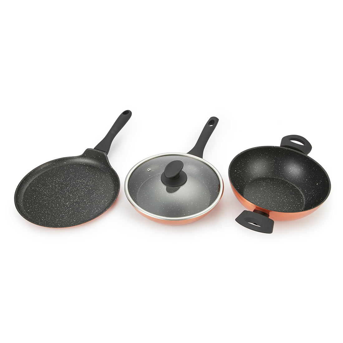 Bergner Forged Cookware Set 4 Copper Cookware Sets in Copper Finish Colour by Living Essence