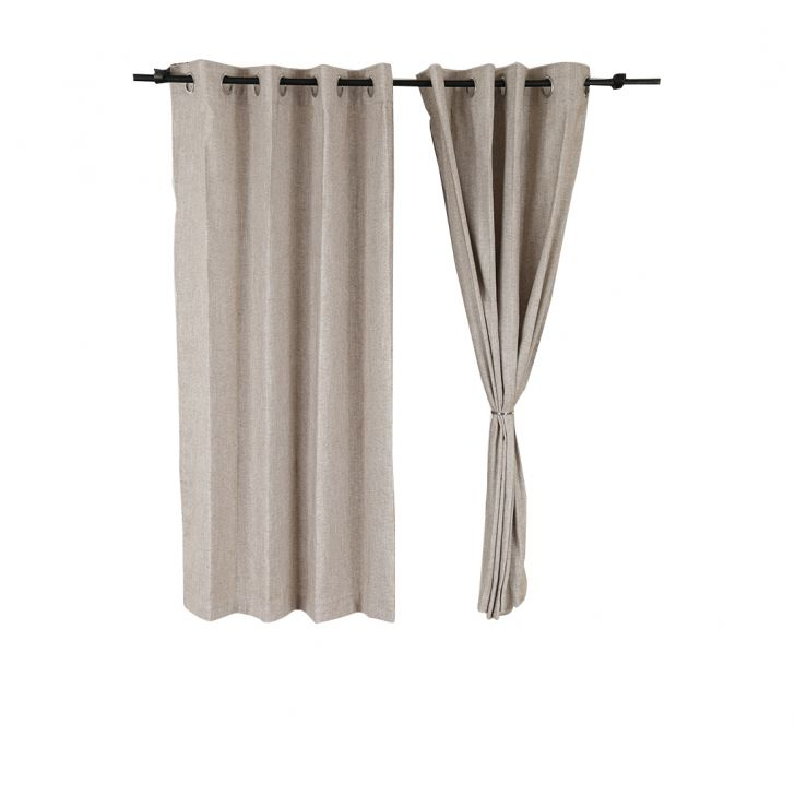 Amour Cotton Polyester Window Curtains in Beige Colour by Living Essence