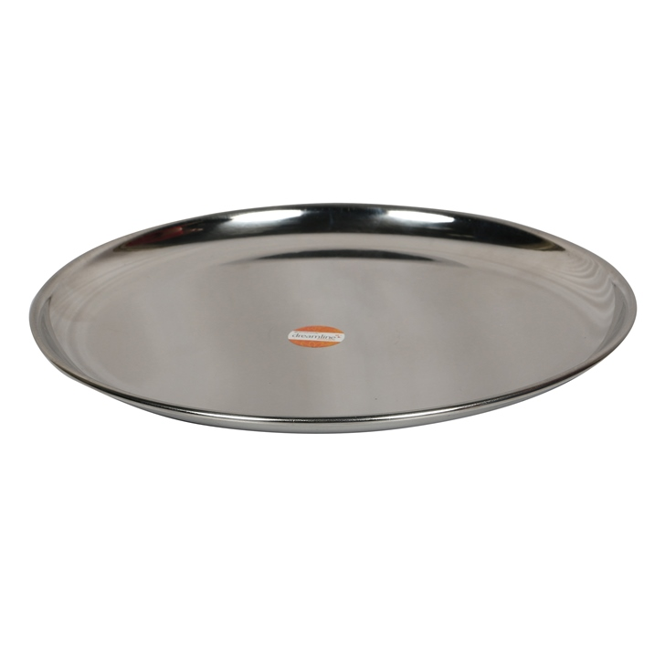 China Plate Dia 10 inches Stainless steel Plates in Silver Colour by Living Essence