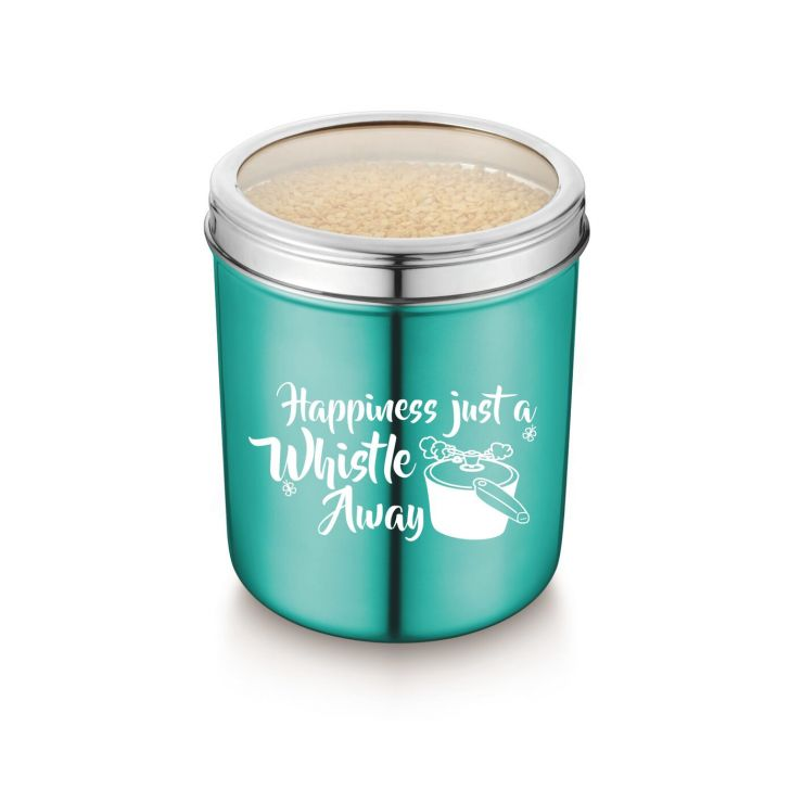 Bonita Grainy Stainlestainless Steel-Steel 5 Lt Canister Stainless steel Containers in Blue Colour by Bonita