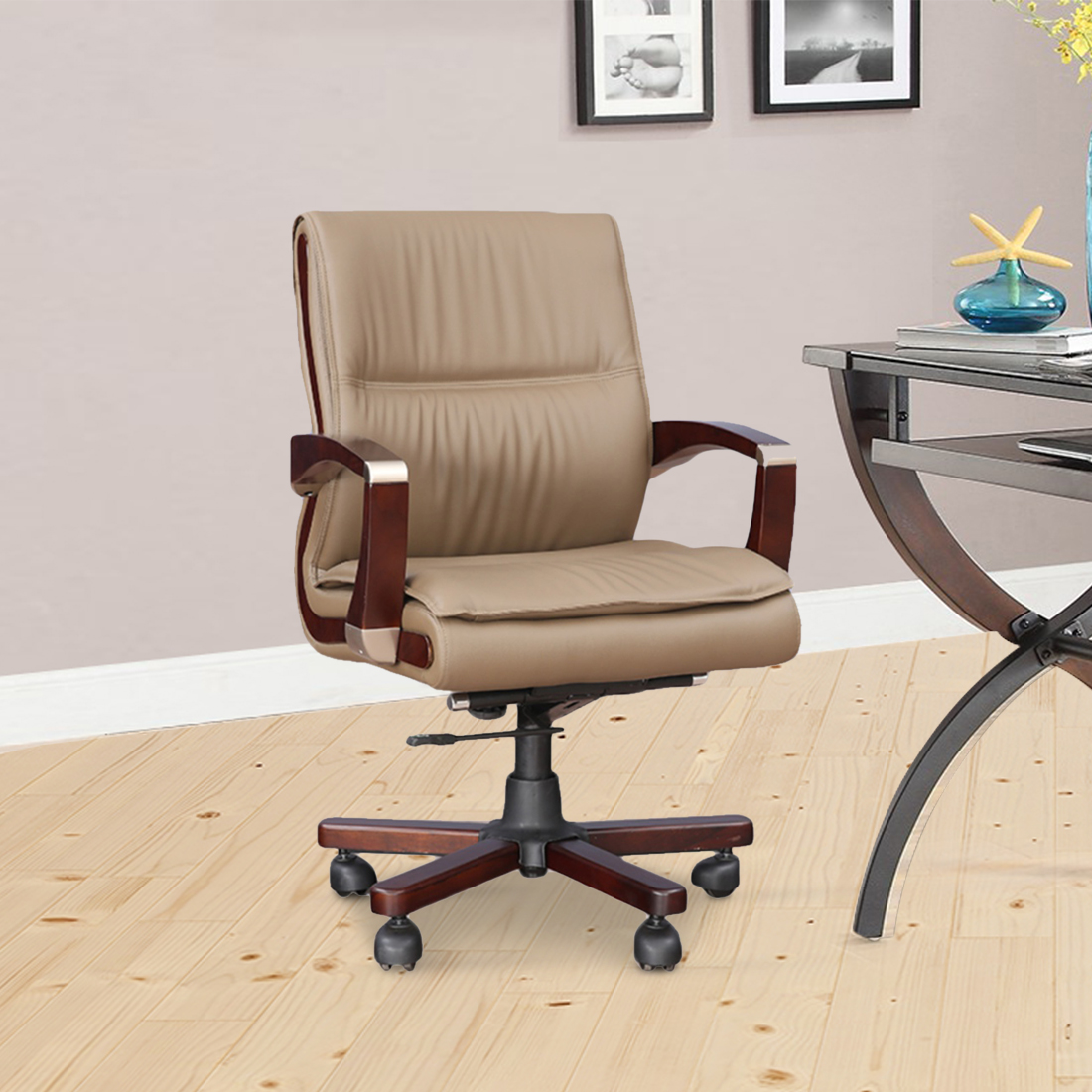 Opal Mid Back Office Chair in Beige Colour by HomeTown