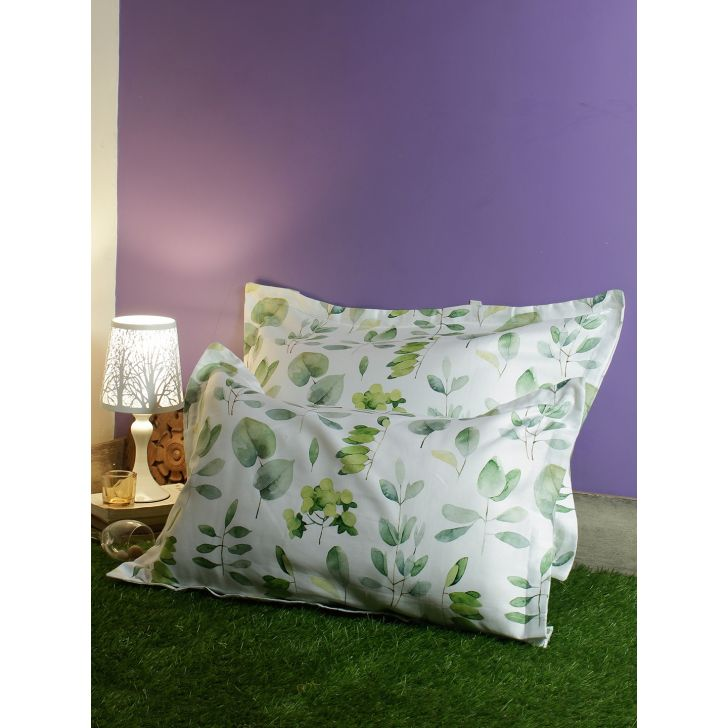 Set Of 2 Nora Palette Digi Printed Polyester Pillow Covers in Citron Colour by Living Essence