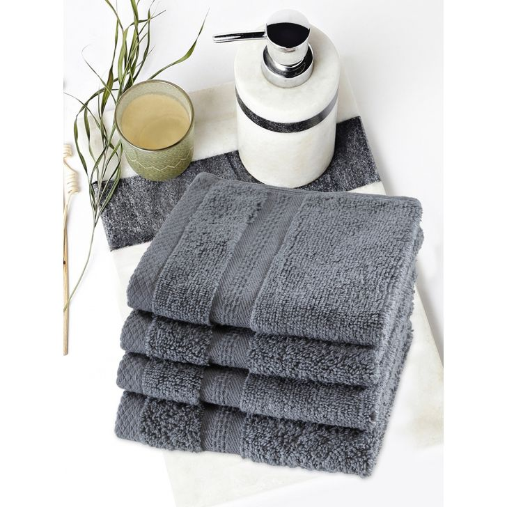 Paradiso Cotton Set Of 4 Face Towel 30X30 Cm 500 Gsm in Grey Colour
